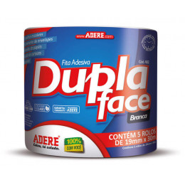Kit com 10 Fita Dupla Face de Papel Liso 19 mm x 30 m - Adere